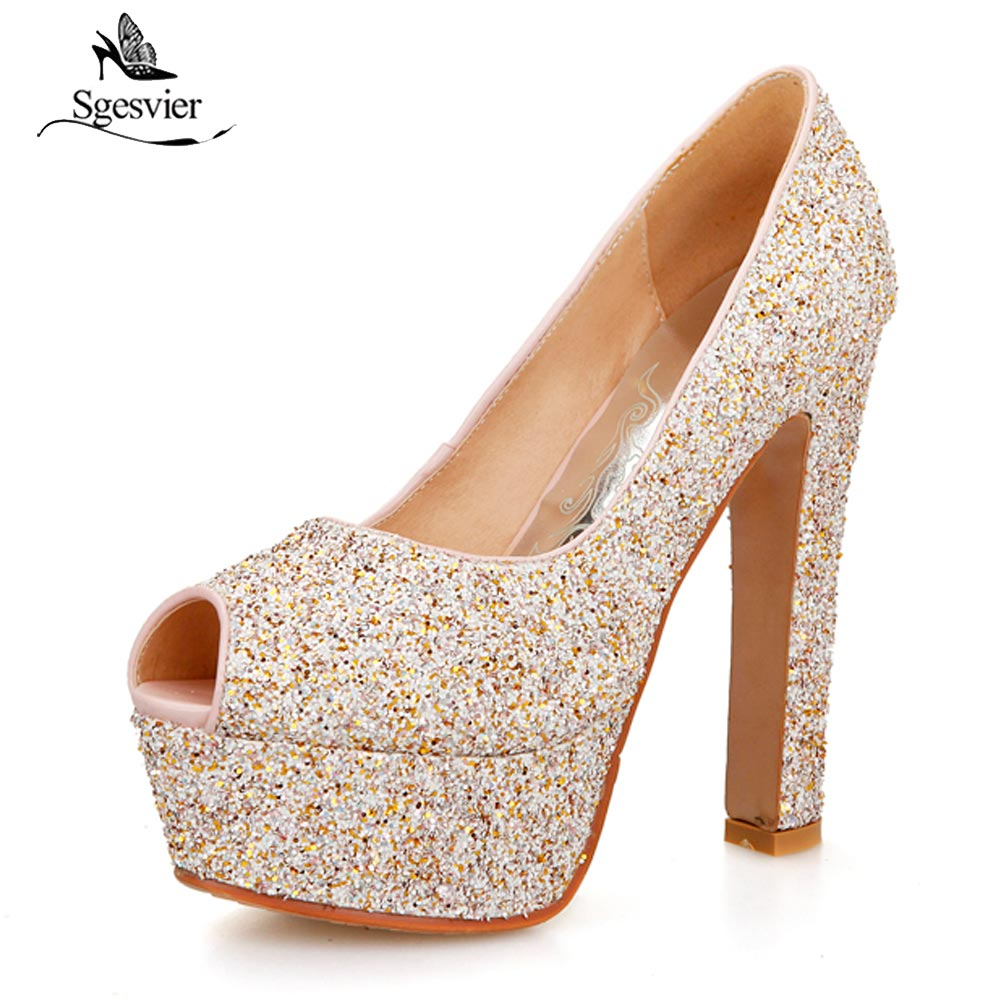 Sgesvier Bling Sequins Cloth Women Pumps Sexy Fashion Peep Toe Thick High Heel Platform Glitter Shoes Women Plus Size 31-43 B222
