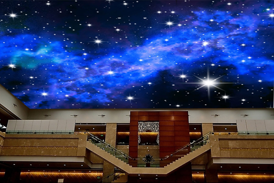 DIY 3d Blue Night Stars in the Sky Room Wall Paper Mural Rolls for 3 d Wall Livingroom Photo Wallpaper Prints Embossed Household the woman in the photo