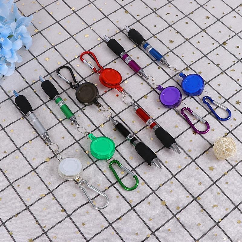 Portable Retractable Badge Reel Golf Scoring Pen Belt Clip With Carabiner Snap Hook Golf Training Aids Accessories