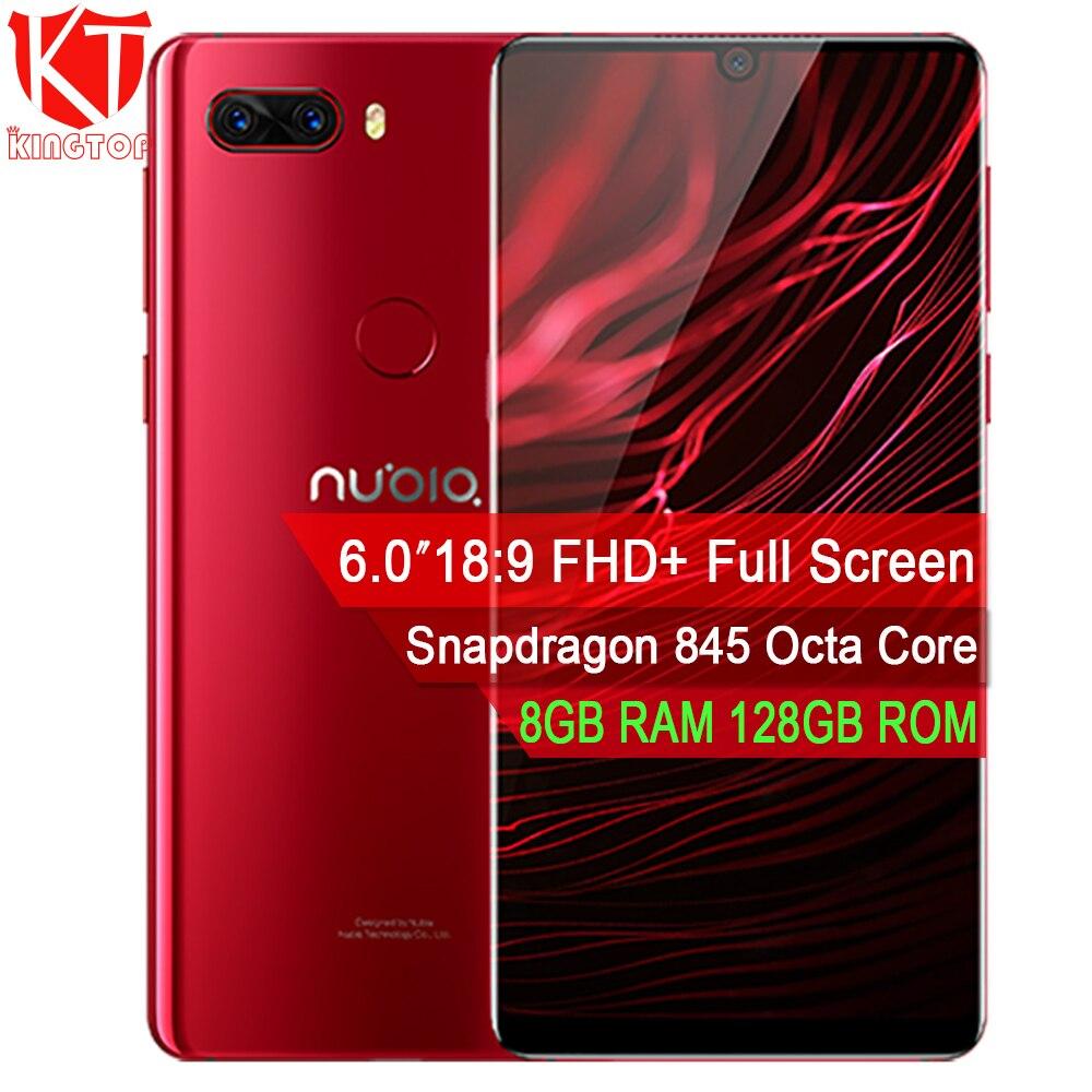 Оригинальный zte Нубия Z18 Мобильный телефон 6,0 ''8 GB 128 GB Snapdragon 845 Octa Core Dual сзади 16MP + 20MP Камера капли воды Экран телефон