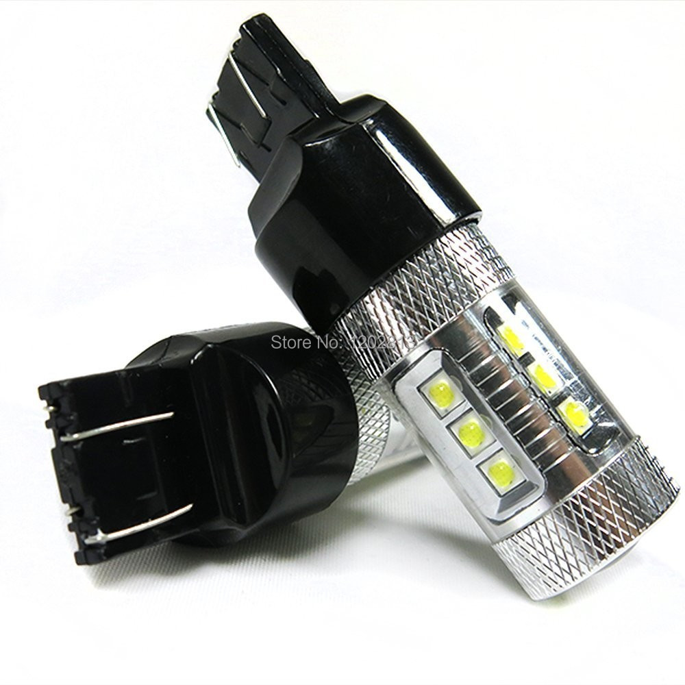 New Brights 2x T20 7443 80W High Power Cree Chips Car LED Backup Reverse Light Bulb - 780LM - 12V/24V - White
