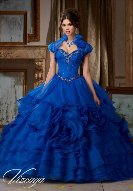 2016 Royal Blue Red Quinceanera Dresses Ball Gown With Beaded Hand Made Flowers Cheap Sweet 16 Dresses Vestidos de 15 Anos