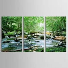 3 Pcs/Set  Art Sets Creek Painting Nature Landscape Modern Wall Forest Green Tree Picture