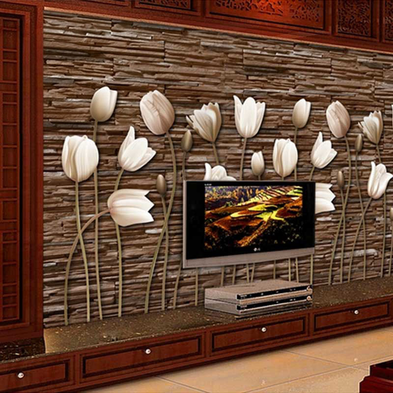 Custom 3D Tulip Mural Wallpaper Living Room Bedroom Sofa TV Background Wall Decorative Pictures 3D Flower Art Photo Wallpaper