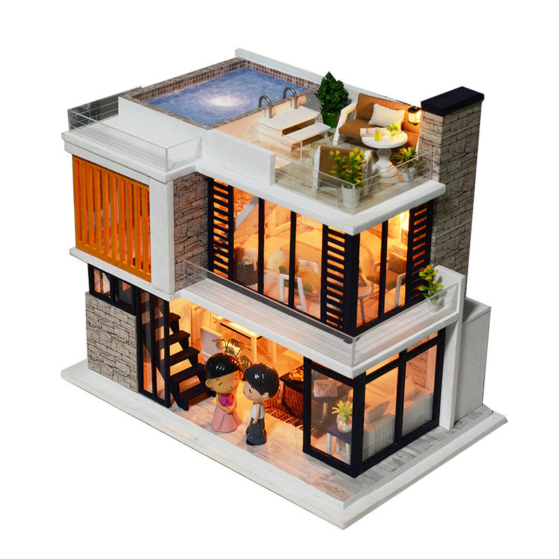 New Two Layers Building Wooden Dollhouse Miniature DIY Doll house With Furnitures Wooden House Toys For