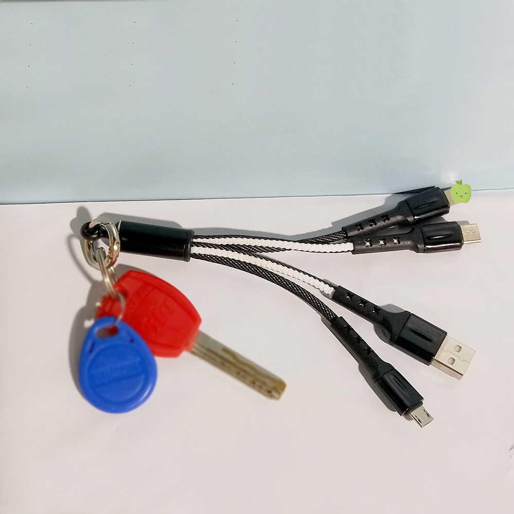 FBYEG 3 em 1 USB keychain Cabo curto Micro USB Tipo C Cabo de Multi Carregador Para Xiaomi Huawei iPhone carregamento rápido
