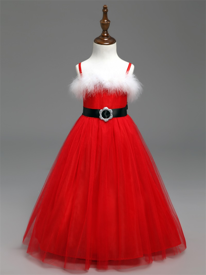 New Year Baby Girl Dress Red Christmas Costume For Girls Santa Dresses Kids Carnival Party Wear Tulle Long Children Clothing