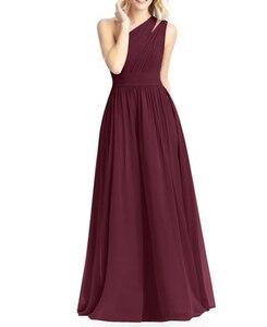 Image 2 - Burgundy Bridesmaid Dresses Long  Chiffon Dress for Wedding Party 2020 Robe Demoiselle Dhonneur Wedding Guest Dress