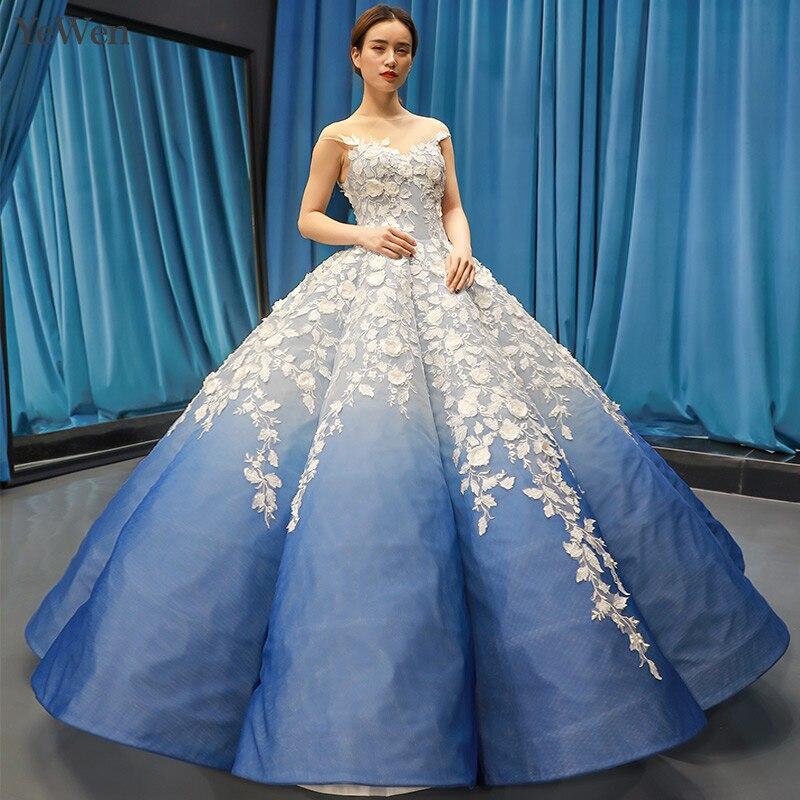 Azul Royal Vestido de Noite Formal Vestidos Especiais da Ocasião Formal Vestido Mulheres Elegante Do Laço Branco Apliques Vestido de Noite YM20255