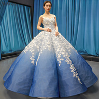 Royal Blue Evening Dress Formal Special Occasion Dresses Formal Dress Women Elegant White Lace Appliques Evening Gown YM20255