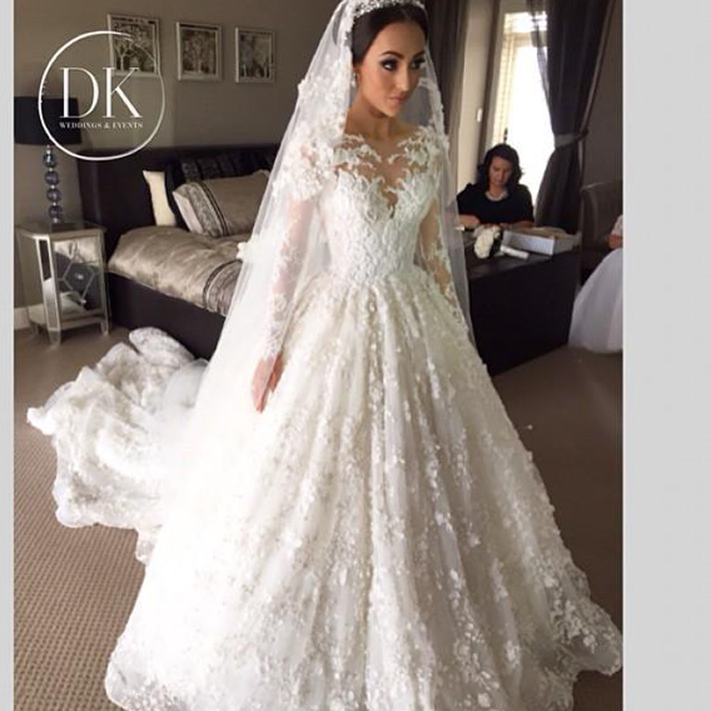 Expensive Wedding Dresses 2015 Real Pictures Vintage Bridal Gowns With Long Sleeves Zipper Back Floral Lace Appliques Custom In From: Expensive Lace Wedding Dresses At Websimilar.org