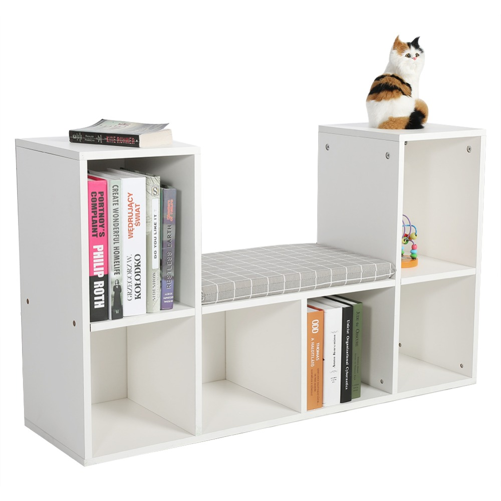 Multi-functional Wooden Storage Shelf Bookshelf Bookcase with Reading Nook Home Office use in Living Room Bedroom Study Room 49 height wooden horse home decor shelf bookcase coffee table diy self build living room puzzle furniture free shipping