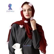 Bufanda hijab musulmán nueva bufanda de la marca de estilo de la flor bufanda musulmán musulmán de la manera de la toalla de la manera de la flor de la manera bufanda cómoda