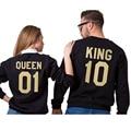 King 10 and Queen 01 Couples Matching Letters Print Men Women Lovers Cotton Hoodies Grey Black Sweatshirt Pullovers svitshot