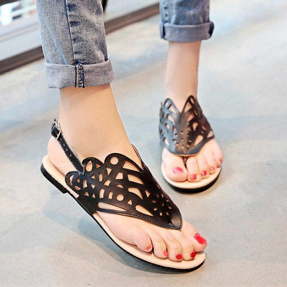 Womens sandals in size 11 -  Meotina Ladies Sandals Thong Shoes Flip Flops Flat Sandals Cutout Beach Shoes Women Sandals Cheap Black