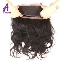 Alimice Brazilian Body Wave 360 Lace Frontal 22X4X2 Full Lace Band Free Part Natural Color 100% Non-Remy Human Hair 10-20 Inch