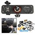 Универсальный многофункциональный 12 В Dual USB Автомобиль Автомобиль GPS Moblie Телефон Зарядное Устройство Цифровой Вольтметр Прикуривателя Розетки