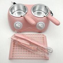 220 В Розовый DIY Шоколад Мыло плавильная печь двойной котел шоколадная емкость для фондю шоколадный фонтан для домашнего хозяйства