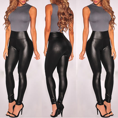 2017 Sexy Women Ladies Black High Waist PU Wet Look Leather   Leggings   Stretch Skinny Pants Slim   Legging