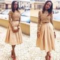 Nigéria Tafetá Na Altura Do Joelho Saias De Renda Zipper Estilo Elegante Saia Para As Mulheres Barato 2015 Saias Das Mulheres