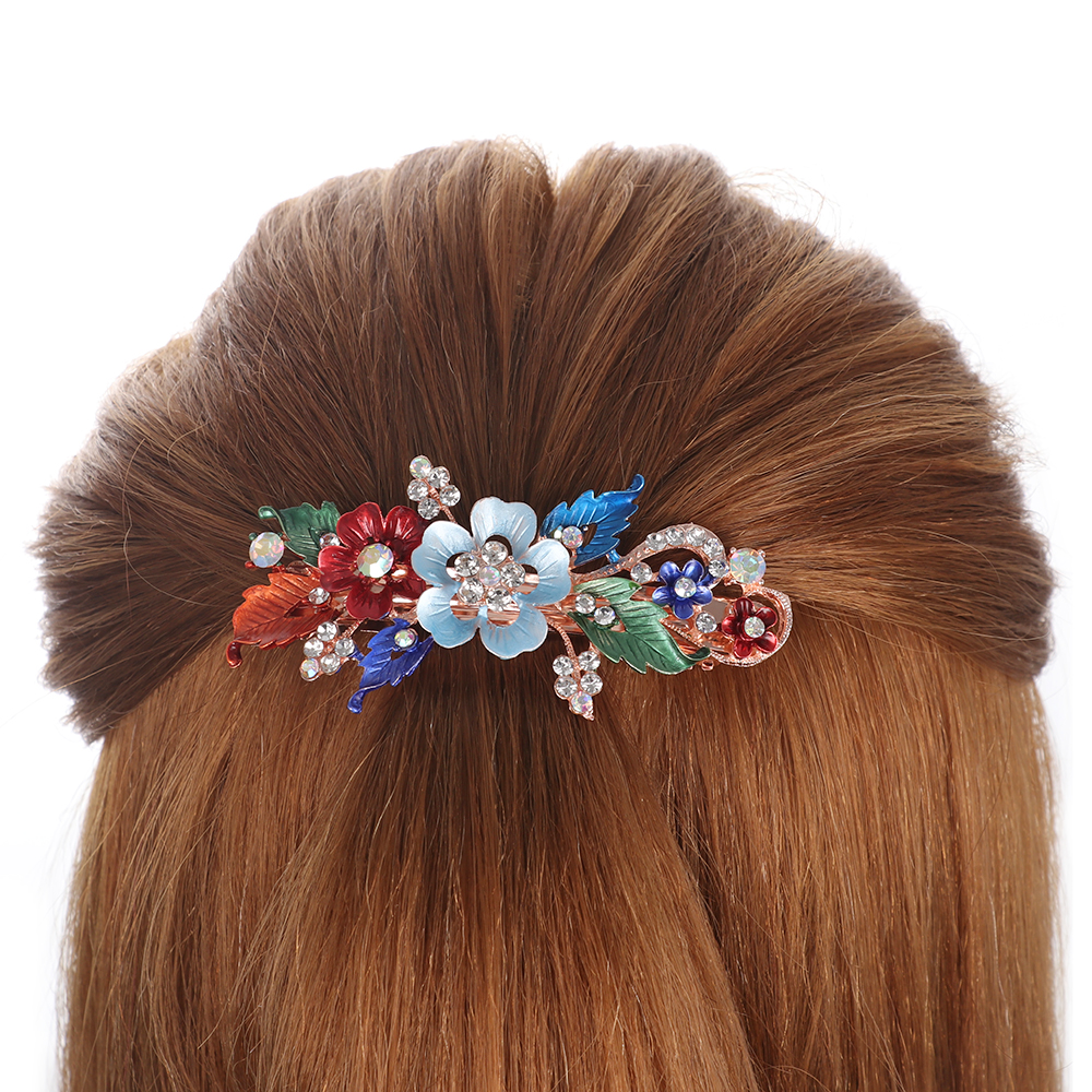 Fashion Flower Barrettes Resin Foral Hair Clip Barrette Crystal Hairpin Headwear For Woman Girls Hair Styling Accessories