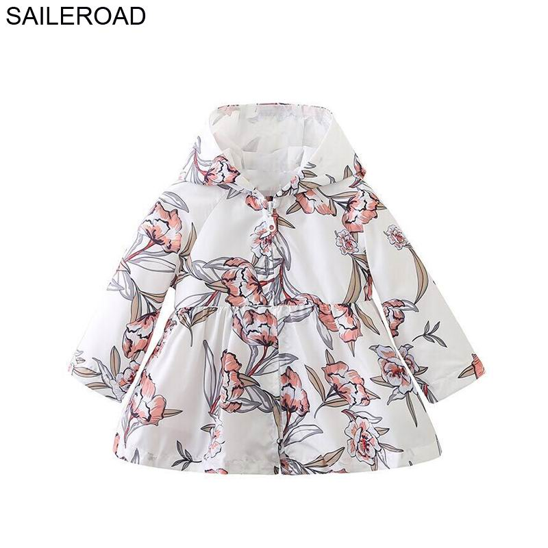 SAILEROAD 2-8Years Kids Girl Long Coat Floral Trench Coat Outerwear Trench Coat Girl Kids Flower Printed Outerwear Jacket Coat