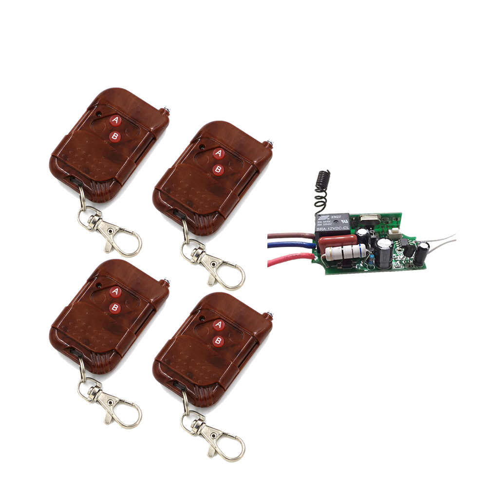 Hot Sales AC 220V RF Remote Control Switch System 4X Transmitter + 1 X Receiver 1CH Relay Smart Home  315/433 MHZ relay smart home z wave 315 433 mhz with ac220v 1ch 10a rf wireless remote control switch system 4 x transmitter 1 x receiver