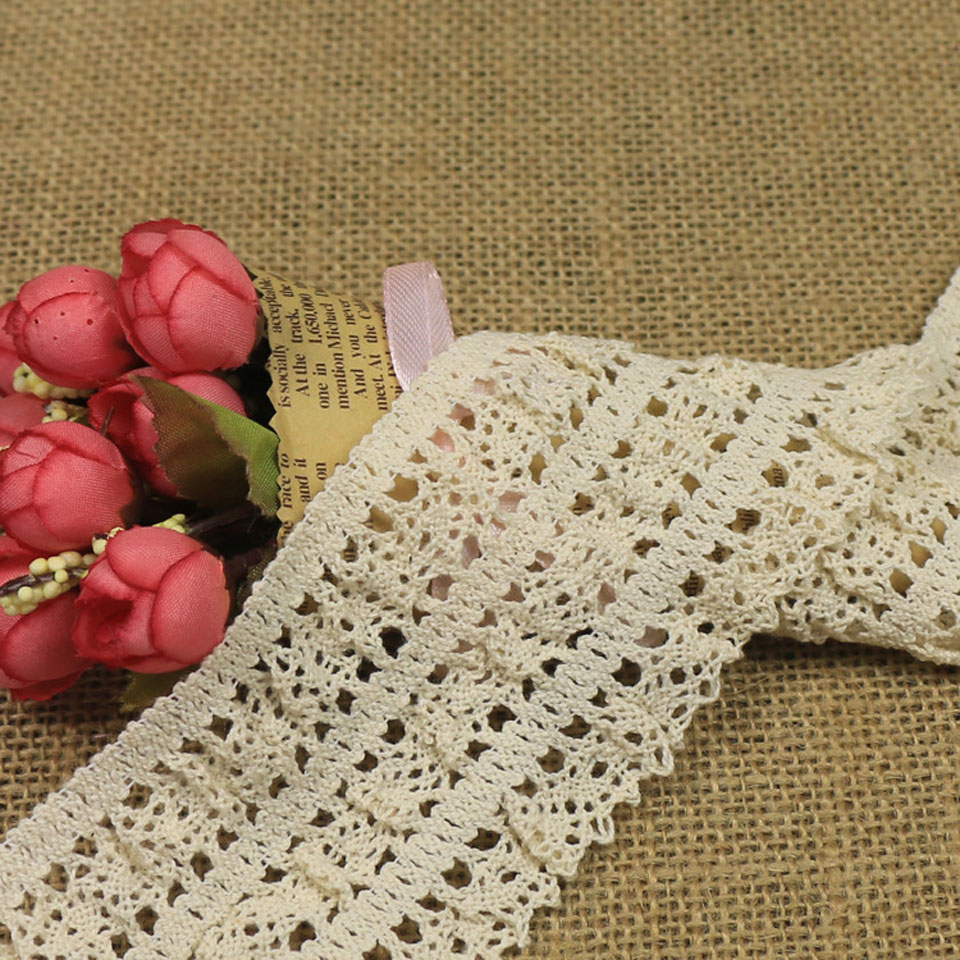 5 Yards/10 Yards/15 Yards/20 Yards 6.5cm Wide Cotton Elastic Stretch Lace Trimming Garment Sock Edge Decoration Trim White
