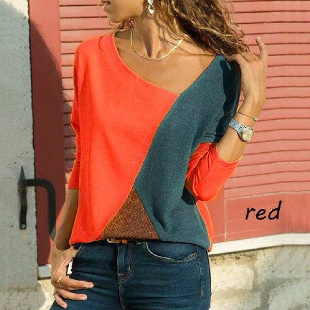 Camisas Mujer Women O-Neck Splicing Color Collision Long Sleeves Plus Size Easy Tops camisa feminina long sleeve tshirt women