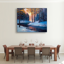 Laeacco Painting Calligraphy Winter Poster Sunshine River Trees Canvas Wall Artwork Home Living Room Bedroom Decoration