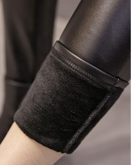 Winter Warm Women Pants Dropshipping Female PU Leather Velvet Trousers Elastic Pencil Skinny pants Women's Fashion Tight pants