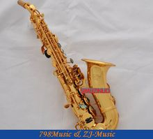 Professional Curved Soprano Saxophone Abalone shell Gold Bb Sax High F