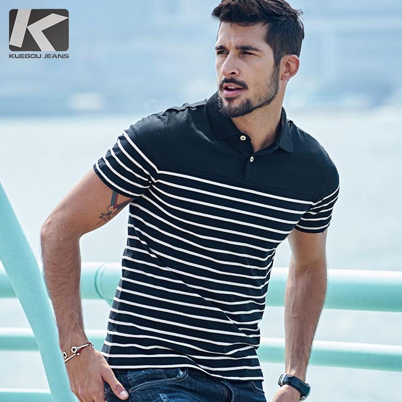 Kuegou Men's   polo   shirt, men's short sleeved Lapel striped , summer men's fashion in England 7036