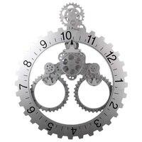 DIY Large Mechanical Style Gear Elements Quartz Movement Wall Clock Decorative Modern Steampunk Big Month/Date/Hour Wheel Clocks