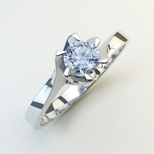 Six Claw Carat Zircon Wedding Rings 1