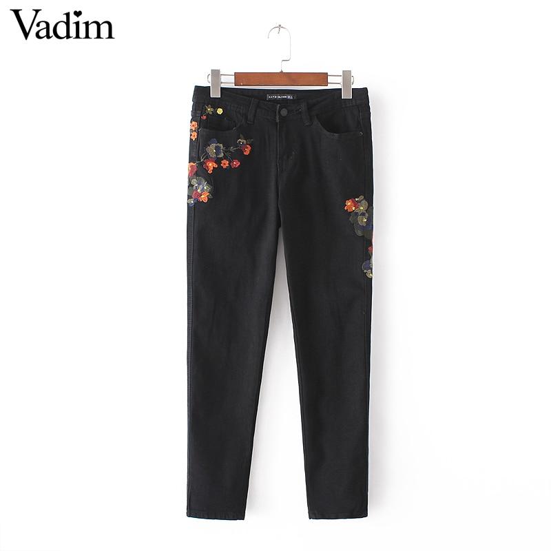 Women Sweet Flower Embroidery Denim Jeans Black Pockets