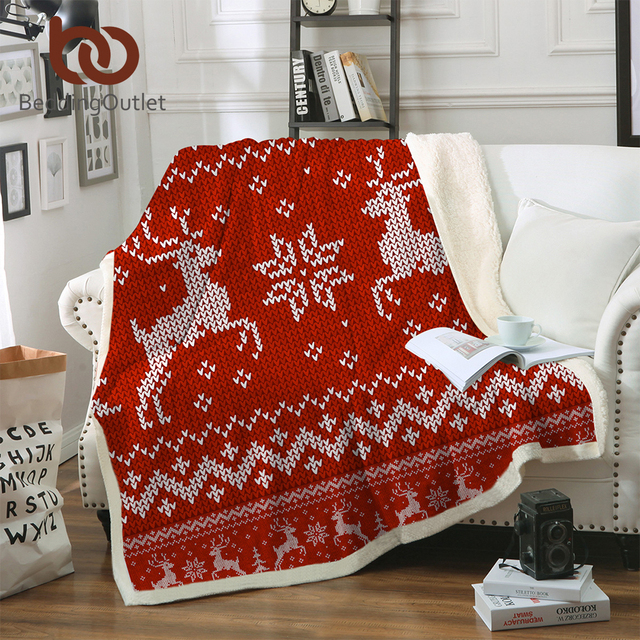 BeddingOutlet Christmas Blanket Microfiber Moose Elk Plush Sherpa Gorgeous Christmas Fleece Throws Blankets