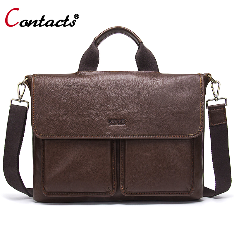 CONTACT'S Men bag Genuine Leather Men bags Handbag Laptop Tote Briefcases Crossbody Shoulder bags Men's Messenger Bag New 2017