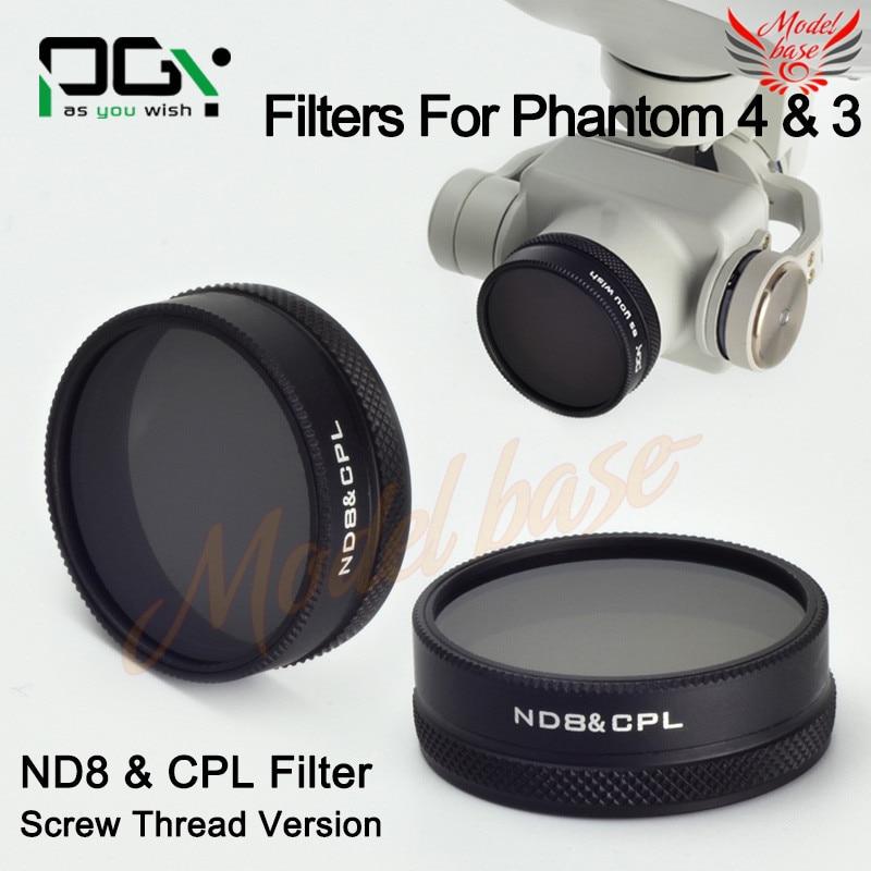 2016 NOUVEAU PGY DJI phantom4/phantom3 ND8 et CPL 2in1 Multi-fonction AGC Optique Lentille En Verre Filtre vis fil pièces accessoires