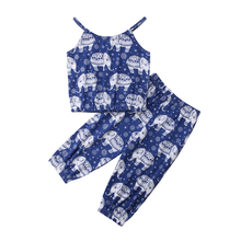 Summer Toddler Baby Kid Girl Elephant Print Outfits Camisole T-shirt Top Vest+Loose Long Pants Baby Kids Girls Clothes Sets new