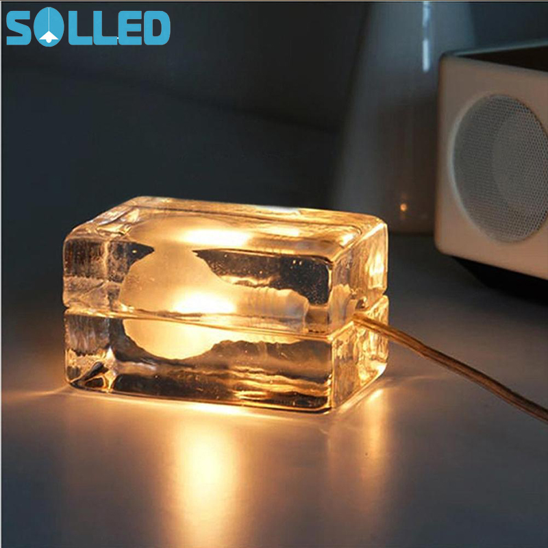 SOLLED Ice Block Cube Table Lamp Glass Desk Light Nightlights for Home Decor
