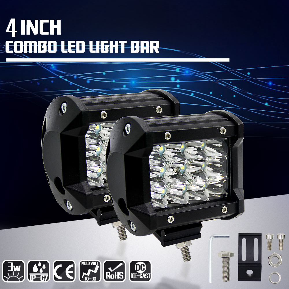 2PCS FREE SHIPPING 4inch 36w led light bar spot offroad led work light 12 volt led driving light for trucks дополнительная фара dled spot 12 led 36w 3377