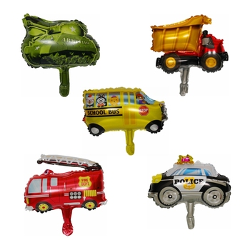 1PCS Mini Car Aluminum Foil Balloon Fire Truck Ambulance Tank Air Balloon Children's Toys Decoration Birthday Party Balloons image
