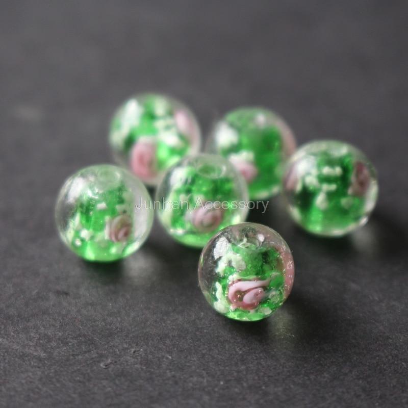 20 Шт./лот 8 мм 10 мм Световой Стеклянные Бусины lampwork Шарики Цветка Зеленый цвет ювелирных изделий