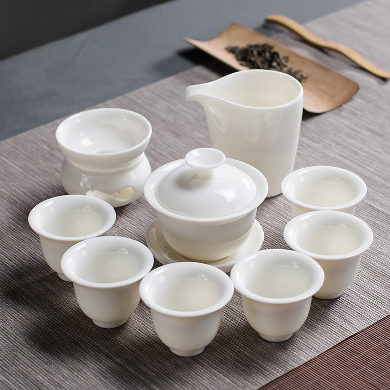 New Arrival Dehua China white porcelain tea gift box set Chinese Kung Fu tea gift Ceramic teaware sets Free Shipping - 2