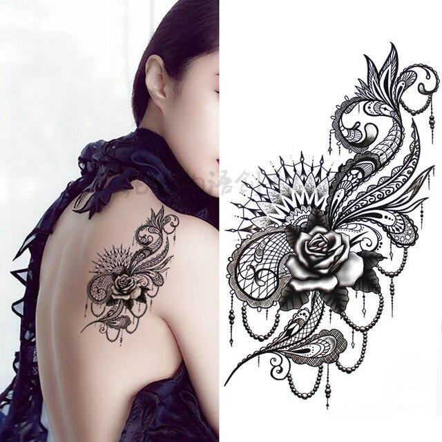 Noir Grande Fleur Body Art Etanche Temporaire Sexy Cuisse Tatouages