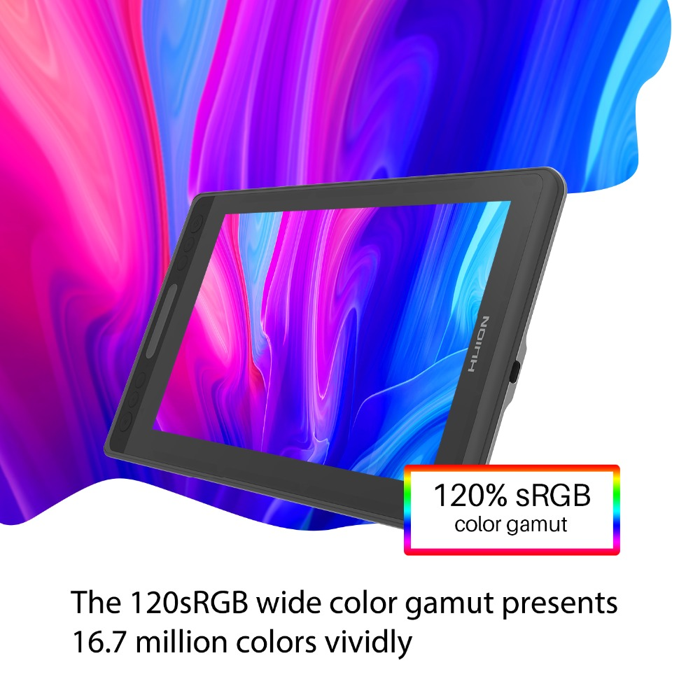 HUION Kamvas Pro 12 GT-116 sans batterie Support d'inclinaison moniteur d'affichage de stylo 11.6 pouces stylo graphique dessin tablette moniteur - 6