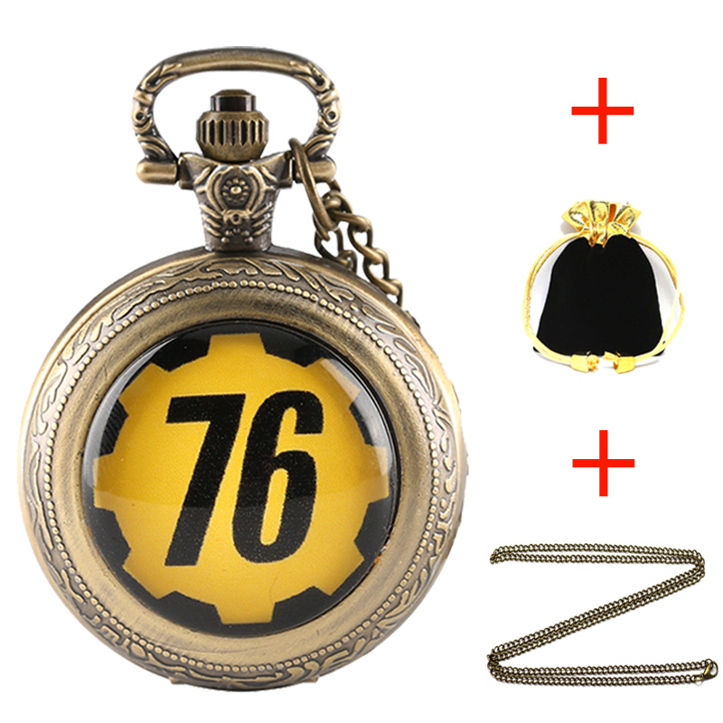 Bronze Pocket Watch FALLOUT 76 Fallout 4 Vault 111 Theme Electronic Games Unique Chain Pendant Gifts Sets With Necklace Box Bag