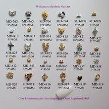 3D 10 шт./пакет разных металлическая маска Треугольники руля кольцо в форме сердца якорь деко украшение ногтей металлические блестящие деко 2