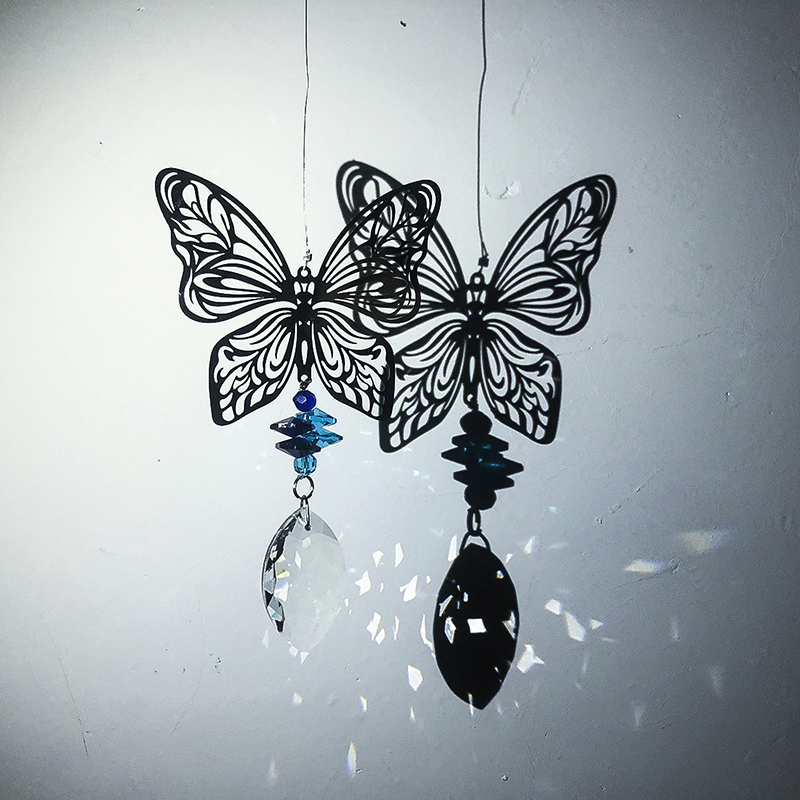 H&D Handmade Crystal Suncatcher Collection Gift Rainbow Maker Window Hanging Pendant Metal Butterfly Drops For Home Garden Decor